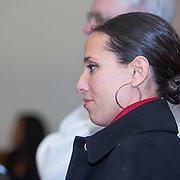 Sonia Chang-Diaz, a member of the Massachusetts Senate, attends a meeting regarding a new Mission Hill building development project at The Mission Church on January 22, 2015 in Boston, Massachusetts. (Photo by Elan Kawesch/The Times of Israel)