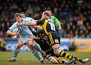 Wycombe, GREAT BRITAIN, Bristols Brian O'RIORDAn, breaking John HART and Lawrence DALLAGLIOs' tackles, during the Guinness Premiership match, London Wasps vs Bristol Rugby, played at the Adams Park Stadium, on Sat. 23rd Feb 2008.  [Mandatory Credit, Peter Spurrier/Intersport-images]