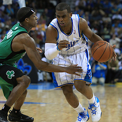 11 February 2009:  New Orleans Hornets guard Chris Paul (3) drives past Boston Celtics guard Rajon Rondo (9) during a 89-77 loss by the New Orleans Hornets to the Boston Celtics at the New Orleans Arena in New Orleans, LA.