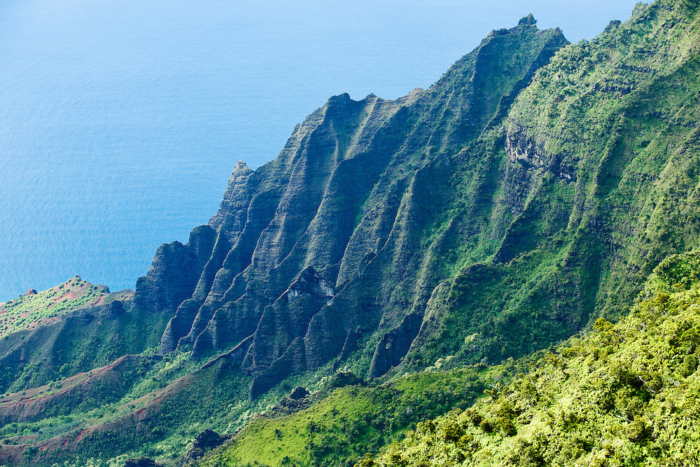 The rock fins that make up the walls of the Kalalau Valley on Na Pali Coast, Kauai, Hawaii, USA.