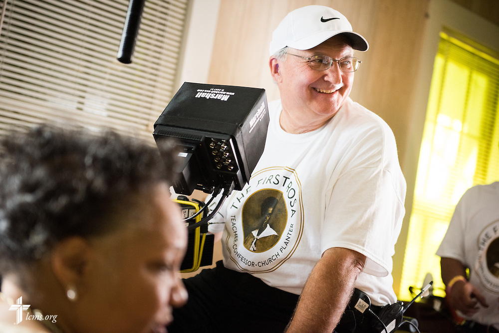 Al Dowbnia, director of Digital Media Production at The Lutheran Church–Missouri Synod, operates the camera  during filming of 'The First Rosa' documentary at Hope Lutheran Church on Wednesday, Sept. 24, 2014, near Selma, Ala. LCMS Communications/Erik M. Lunsford