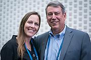 Laura Kaiser and Tom Still from the Wisconsin Technology Council at the  Wisconsin Entrepreneurship Conference at Venue 42 in Milwaukee, Wisconsin, Wednesday, June 5, 2019.