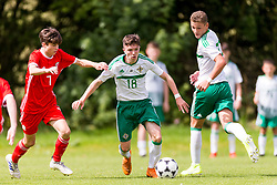 WREXHAM, WALES - Thursday, August 15, 2019: Wales' Calum Agius and Shea Brennan during the UEFA Under-15's Development Tournament match between Wales and Northern Ireland at Colliers Park. (Pic by Paul Greenwood/Propaganda)
