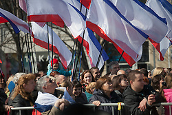 Crimea one day before the referendum. People enjoy the performing  with many Crimean flags in the background in a pro Russian rally at Simferopol's Lenin Square. Simferopol, . Saturday, 15th March 2014. Picture by Daniel Leal-Olivas / i-Images