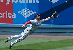 June 7, 2017 - Los Angeles, California, U.S. - Washington Nationals left fielder RYAN RABURN can't reach a RBI double by Los Angeles Dodgers' Yasmani Grandal (not pictured) as Adrian Gonzalez (not pictured) scored the go ahead run in the sixth inning of a Major League baseball game at Dodger Stadium on Wednesday. (Credit Image: © San Gabriel Valley Tribune via ZUMA Wire)