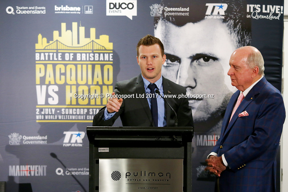 Jeff Horn speaks during a press conference ahead to the World Boxing Organisation welterweight title fight between defender Manny Pacquiao and Jeff Horn at the Pullman Sydney Airport Hotel, Sydney, Australia. 27 April 2017. Copyright photo: Jason McCawley / www.photosport.nz