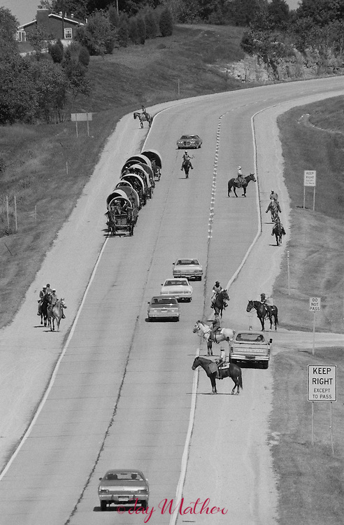 Vision Quest wagon train.  The program works with troubled and disadvantaged youth to help them with their life issues.  The East Coast Wagon Train was  coming through Southern Indiana in 1979
