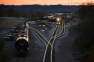 An train hauling liquified natural gas arrives at dusk at Rook Railyard in Greentree, PA.