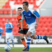 St Johnstone v Dundee United....07.08.12  SPL Under 20 League<br /> Ally Gilchrist in action against Dundee Utd<br /> Picture by Graeme Hart.<br /> Copyright Perthshire Picture Agency<br /> Tel: 01738 623350  Mobile: 07990 594431