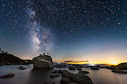 Bonsai rock under the Milky Way galaxy at night at Lake Tahoe, in Incline Village, Nevada. (Photo Scott Sady/TahoeLight.com)
