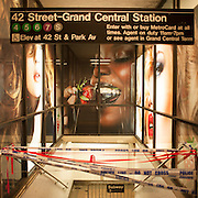 October 31, 2012 - New York, NY : Police tape and a barricade block an entrance to the 42nd Street Grand Central Station subway entrance in Manhattan on Wednesday night. Select subway service is to resume tomorrow, Thursday, following Hurricane Sandy. CREDIT: Karsten Moran for The New York Times