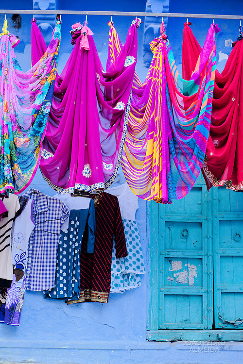 Fabrics drying outside a house in Jodhpur