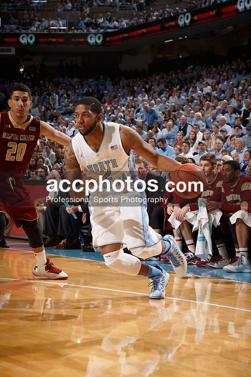 CHAPEL HILL, NC - JANUARY 18: Leslie McDonald #2 of the North Carolina Tar Heels dribbles during a game against the Boston College Eagles on January 18, 2014 at the Dean E. Smith Center in Chapel Hill, North Carolina. North Carolina won 82-71. (Photo by Peyton Williams/UNC/Getty Images) *** Local Caption *** Leslie McDonald