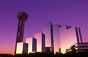 Image of the Dallas Skyline at dusk with Reunion Tower, Dallas, Texas, American South