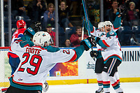 KELOWNA, CANADA - MARCH 13:  Nolan Foote #29 of the Kelowna Rockets celebrates a goal against the Spokane Chiefs on March 13, 2019 at Prospera Place in Kelowna, British Columbia, Canada.  (Photo by Marissa Baecker/Shoot the Breeze)