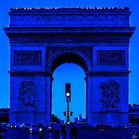 Arc de Triomphe in Paris France, seen through a blue filter