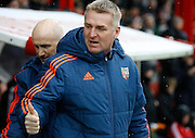 Brentford manager, Head Coach, Dean Smith before the Sky Bet Championship match between Brentford and Derby County at Griffin Park, London, England on 20 February 2016. Photo by Andy Walter.