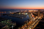 Alicante Port and marina as seen from Santa Bárbara castle,Alicante city,Spain,Europe