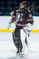 KELOWNA, CANADA -FEBRUARY 5: Patrik Bartosak G #35 of the Red Deer Rebels stands on the ice during warm up against the Kelowna Rockets on February 5, 2014 at Prospera Place in Kelowna, British Columbia, Canada.   (Photo by Marissa Baecker/Getty Images)  *** Local Caption *** Patrik Bartosak;