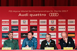 05.02.2017, St. Moritz, SUI, FIS Weltmeisterschaften Ski Alpin, St. Moritz 2017, Eröffnungs Pressekonferenz LOC, im Bild v.l. Roland Mägerle (Host Broadcasting SRG/SSR), Dr. Urs Lehmann (Präsident Swiss Ski), Gian Franco Kasper (FIS Präsident), Dr. Urs Lehmann (Präsident Swiss Ski), Hugo Wetzel (Präsident OK St. Moritz) // f.l. Roland Maegerle (Host Broadcasting SRG/SSR) Dr. Urs Lehmann (President of Swiss Ski) Gian Franco Kasper president of the International Ski Federation Dr. Urs Lehmann (Präsident Swiss Ski) Hugo Wetzel (President of OK St. Moritz) during a press conference of LOC prior to the FIS Ski World Championships 2017. St. Moritz, Switzerland on 2017/02/05. EXPA Pictures © 2017, PhotoCredit: EXPA/ Johann Groder