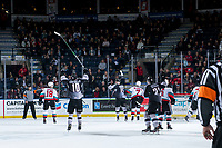 KELOWNA, BC - JANUARY 4:  Holden Katzalay #15 scores the first goal of the first period for the Vancouver Giants against the Kelowna Rockets at Prospera Place on January 4, 2020 in Kelowna, Canada. (Photo by Marissa Baecker/Shoot the Breeze)