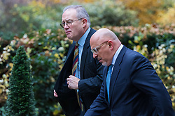 London, November 29 2017. MP for Stratford on Avon Nadhim Zahawi, right, is seen walking up Downing Street to a meeting at No. 10. © Paul Davey
