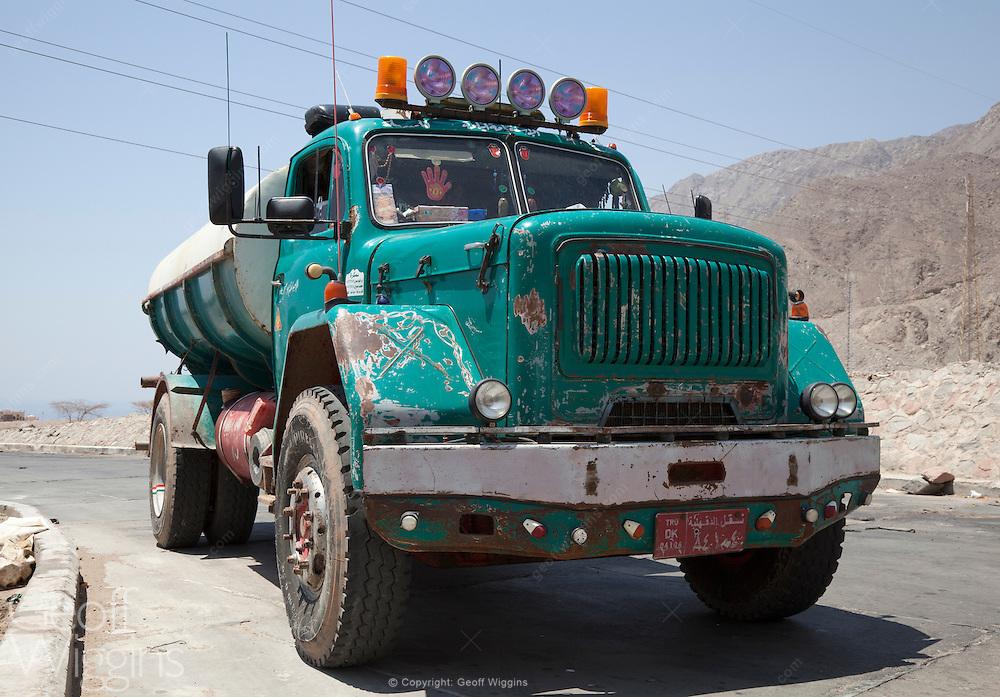 Egyptian Magirus Deutz tanker transporting water to villages in the Sinai Desert, Egypt