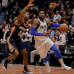Dec 29, 2017; New Orleans, LA, USA; Dallas Mavericks guard Wesley Matthews (23) drives past New Orleans Pelicans guard E'Twaun Moore (55) during the first quarter at the Smoothie King Center. Mandatory Credit: Derick E. Hingle-USA TODAY Sports