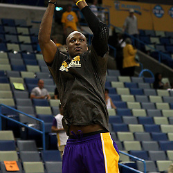 April 24, 2011; New Orleans, LA, USA; Los Angeles Lakers power forward Lamar Odom (7) prior to tip of game four of the first round of the 2011 NBA playoffs against the New Orleans Hornets at the New Orleans Arena.    Mandatory Credit: Derick E. Hingle