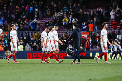 January 30, 2019 - Barcelona, Spain - Sevilla FC players at the end of the match FC Barcelona v Sevilla CF, for the round of 8, second leg of the Copa del Rey played at Camp Nou  on 30th January 2019 in Barcelona, Spain. (Credit Image: © Mikel Trigueros/NurPhoto via ZUMA Press)