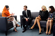 Emmanuel Macron and his wife Brigitte meet Nobel Price, Malala Yousafzai - 20 Sep 2017