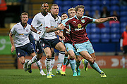 David Wheater (Bolton Wanderers) and James Tarkowski (Burnley) fight to get in position for a header in the penalty box as a corner is delivered during the Pre-Season Friendly match between Bolton Wanderers and Burnley at the Macron Stadium, Bolton, England on 26 July 2016. Photo by Mark P Doherty.