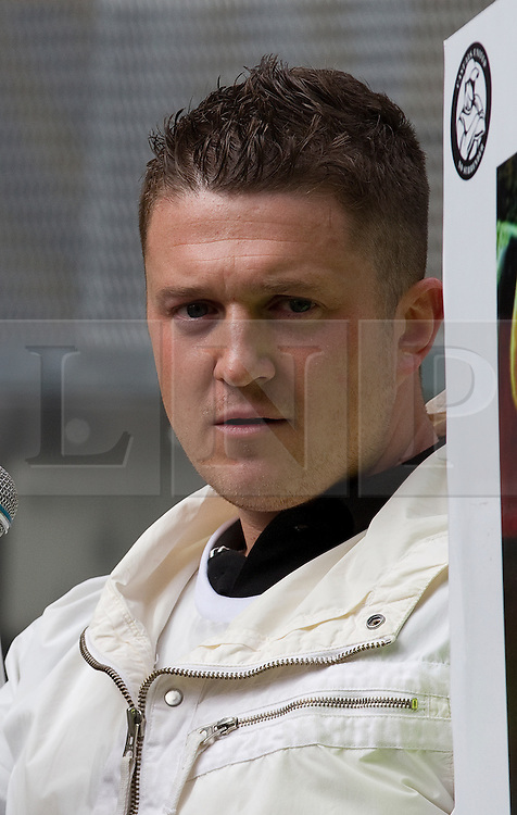 © licensed to London News Pictures. FILE PICTURE OF STEPHEN LENNON AT AN EDL RALLY IN BLACKBURN DATED 02/04/2011. UK 24/04/2012. Campaigning organisation Hope Not Hate report that EDL leader Stephen Yaxley Lennon (aka Tommy Robinson) is to be appointed deputy leader of the British Freedom Party. Please see special instructions for usage rates. Photo credit should read Joel Goodman/LNP