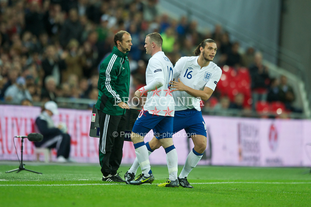 LONDON, ENGLAND - Tuesday, September 6, 2011: England's substitute Andy Carroll replaces Wayne Rooney during the UEFA Euro 2012 Qualifying Group G match against Wales at Wembley Stadium. (Pic by Chris Brunskill/Propaganda)