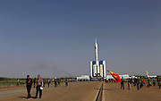 JIUQUAN, CHINA - JUNE 03: (CHINA OUT) <br /> <br /> Shenzhou X Spacecraft Set For Launch<br /> <br /> The spacecraft of Shenzhou X is seen on top of the Long March 2F launch vehicle at the launch pad at the Jiuquan Satellite Launch Center on June 3, 2013 in Jiuquan, China. China will launch the Shenzhou X spacecraft in the middle of June. The spacecraft will carry three astronauts to visit the Tiangong-1 space module. <br /> ©ChinaFoto/Exclusivepix