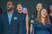 The NHS choir performs on the Pyramid stage - The 2016 Glastonbury Festival, Worthy Farm, Glastonbury.