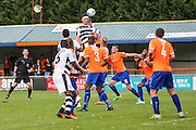 Forest Green Rovers Keiffer Moore (14) rises to head the ball during the Vanarama National League match between Braintree Town and Forest Green Rovers at the Amlin Stadium, Braintree, United Kingdom on 24 September 2016. Photo by Shane Healey.