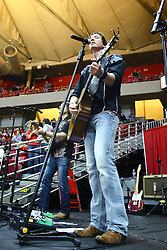 29 December 2011:  Brett Gillan, lead singer, guitarist. The BrusfhFire Band performed during an NCAA mens basketball game between the Northern Illinois Panthers and the Illinois State Redbirds in Redbird Arena, Normal IL