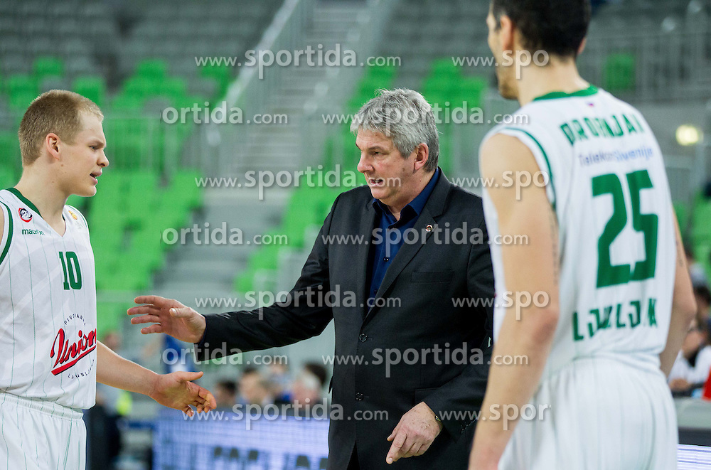 Sasu Antreas Salin of Union Olimpija, Ales Pipan, head coach of Union Olimpija during basketball match between KK Union Olimpija and KK Zadar in 13th Round of ABA League 2013/14, on December 22, 2013 in Arena Stozice, Ljubljana, Slovenia.  Photo by Vid Ponikvar / Sportida