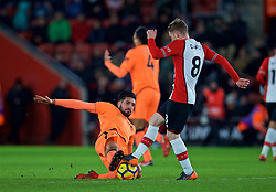 SOUTHAMPTON, ENGLAND - Sunday, February 11, 2018: Liverpool's Emre Can and Southampton's Steven Davis during the FA Premier League match between Southampton FC and Liverpool FC at St. Mary's Stadium. (Pic by David Rawcliffe/Propaganda)