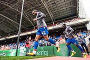 Crystal Palace #42 Jason Puncheon, Crystal Palace #15 Jeffrey Schlupp during the warm up at  Premier League match between Crystal Palace and Chelsea at Selhurst Park, London, England on 14 October 2017. Photo by Sebastian Frej.