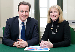 Leader of the Conservative Party David Cameron with Sarah Wollaston, Member of Parliament for Totnes in his office in Norman Shaw South, January 18, 2010. Photo By Andrew Parsons / i-Images.