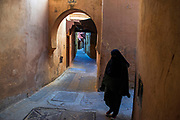The Kasbah of Meknes comprises a labyrinth of interconnecting alleyways, mostly painted an ochre or earthy shade.The narrow streets and high walls maintain shade an a flow of air to combat the intense heat of the day.