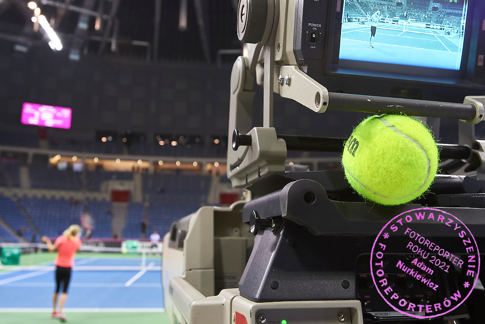 TV camera of Polsat TV and Wilson official ball during Second Day of the Fed Cup / World Group 1st round tennis match between Poland and Russia at Tauron Krakow Arena on February 8, 2015 in Cracow, Poland.<br /> <br /> Poland, Cracow, February 8, 2015<br /> <br /> Picture also available in RAW (NEF) or TIFF format on special request.<br /> <br /> For editorial use only. Any commercial or promotional use requires permission.<br /> <br /> Adam Nurkiewicz declares that he has no rights to the image of people at the photographs of his authorship.<br /> <br /> Mandatory credit:<br /> Photo by &copy; Adam Nurkiewicz / Mediasport