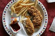 Whataburger fried chicken and French fries in San Antonio, USA. (From a photographic gallery of meals in Hungry Planet: What the World Eats, p. 245).