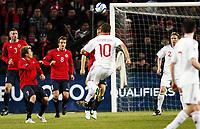 Fotball  , 26. mars 2011 , EM-kvalifisering<br /> Norge - Danmark<br /> <br /> Euro-qual.<br /> Norway - Denmark<br /> Dennis Rommedahl , Danmark  scorer her på et langskudd over blant annet Bjørn Helge Riise , Henning Hauger.