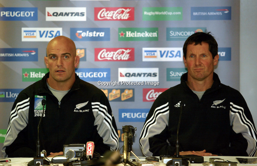 29 October 2003, Rugby Union World Cup, All Black team announccement, MSAC, Melbourne, Australia.<br />