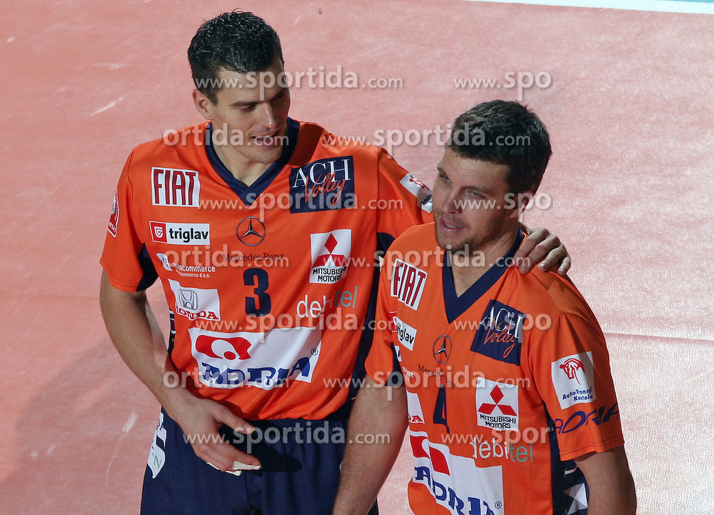 Davor Cebron and Taliaferro of ACH Volley, Slovenia at Indesit European Champions League match between ACH Volley from Bled, Slovenia and Dinamo Moscow, Russia at the Hala Tivoli on January 23, 2008 in Ljubljana, Slovenia. ACH Volley : Dinamo Moscow 0:3. (Photo by Vid Ponikvar / Sportida)