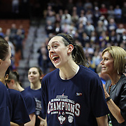 Katie Lou Samuelson, (left) and Breanna Stewart after the UConn Huskies win in the UConn Huskies Vs USF Bulls 2016 American Athletic Conference Championships Final. Mohegan Sun Arena, Uncasville, Connecticut, USA. 7th March 2016. Photo Tim Clayton