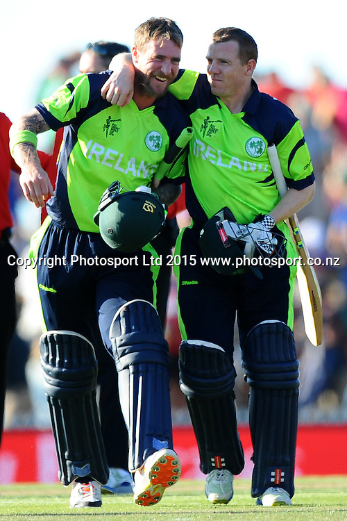 L-R John Mooney and Niall O`Brien after winning their2015 ICC Cricket World Cup match between West Indies and Ireland. Saxton Oval, Nelson, New Zealand. Monday 16 February 2015. Copyright Photo: Chris Symes / www.photosport.co.nz